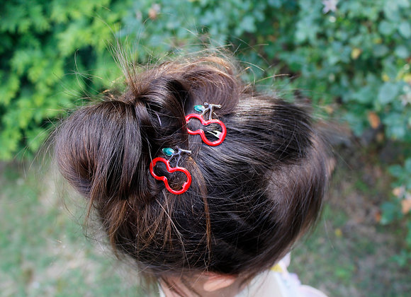 Red Cherry Hair Clips
