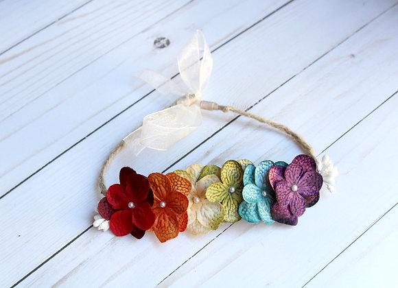 Rainbow Jute Tie Back Headband
