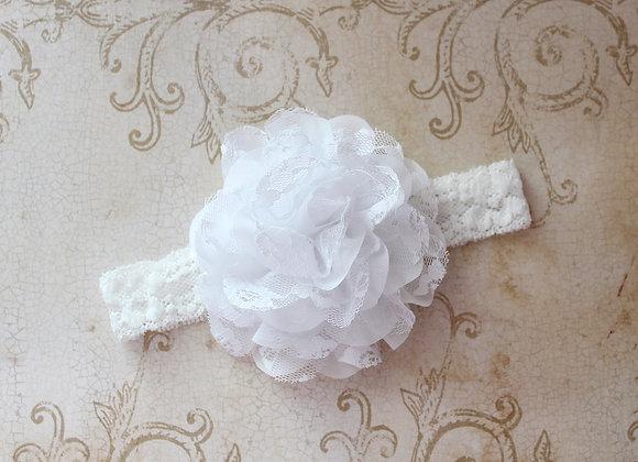 Large White Lace Flower Headband