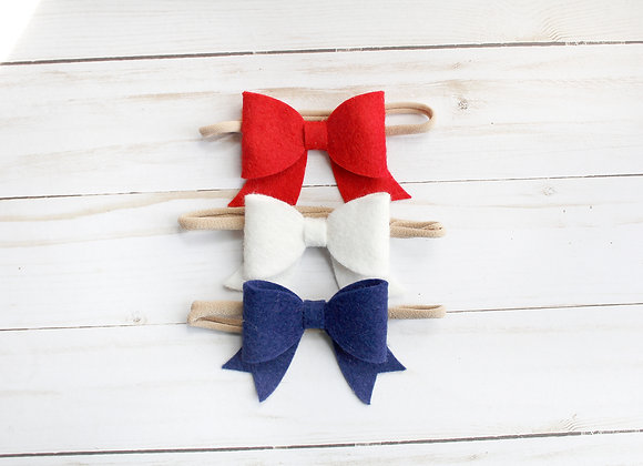 Patriotic Sailor Hair Bows on Headband