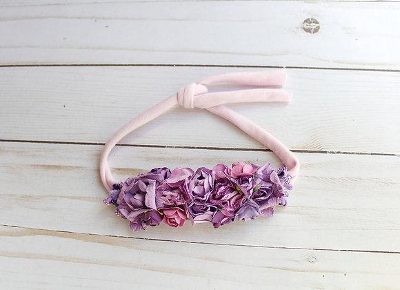 Lavender & Purple Paper Flower Tie Back Headband