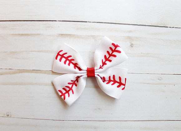 White Baseball Hair Bow