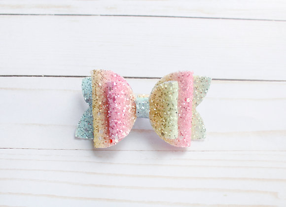 Pastel Ombre Glitter Hair Bow