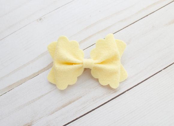 Lemonade Scalloped Felt Hair Bow