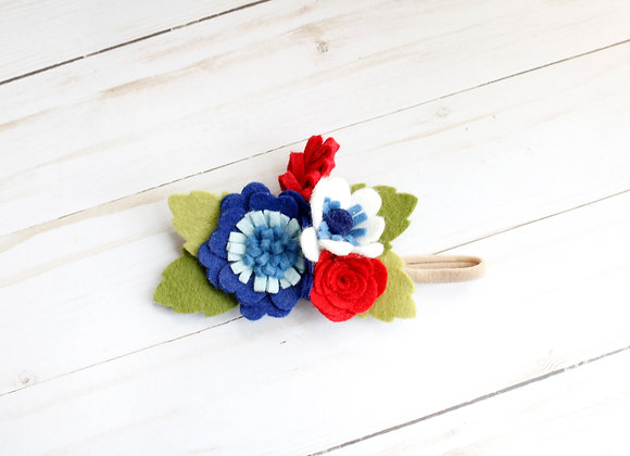 Patriotic Royal Blue Felt Flower Headband