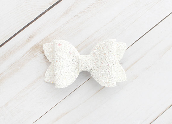 White Glitter Hair Bow