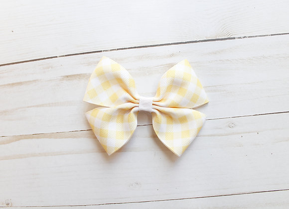 Yellow Gingham Hair Bow