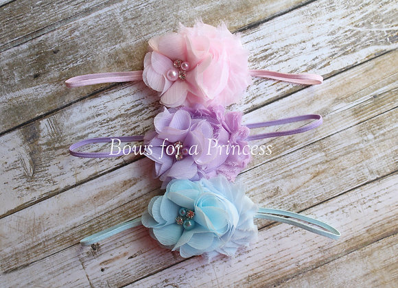 Pastel Double Flower Headbands