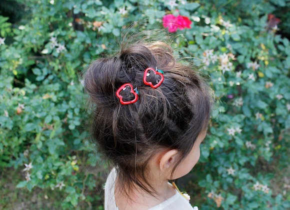 Red Apple Hair Clips