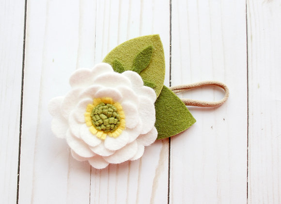 White Felt Flower Headband
