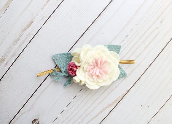 Ivory Vintage Pink Felt Flower Headband