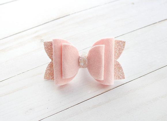 Pink Glitter Felt Hair Bow