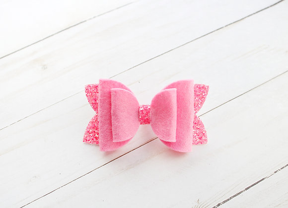 Hot Pink Glitter Felt Hair Bow