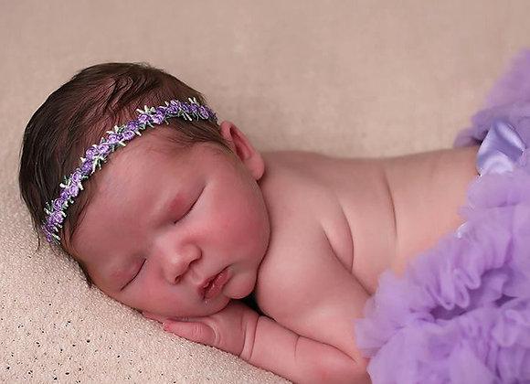 Petite Lavender Rose Flower Trim Headband