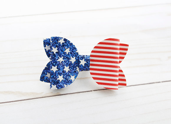 Patriotic Star Glitter Hair Bow