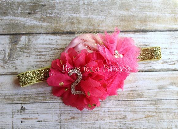 All Hot Pink #2 Rhinestone Birthday Headband