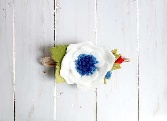 White Felt Flower Patriotic Headband