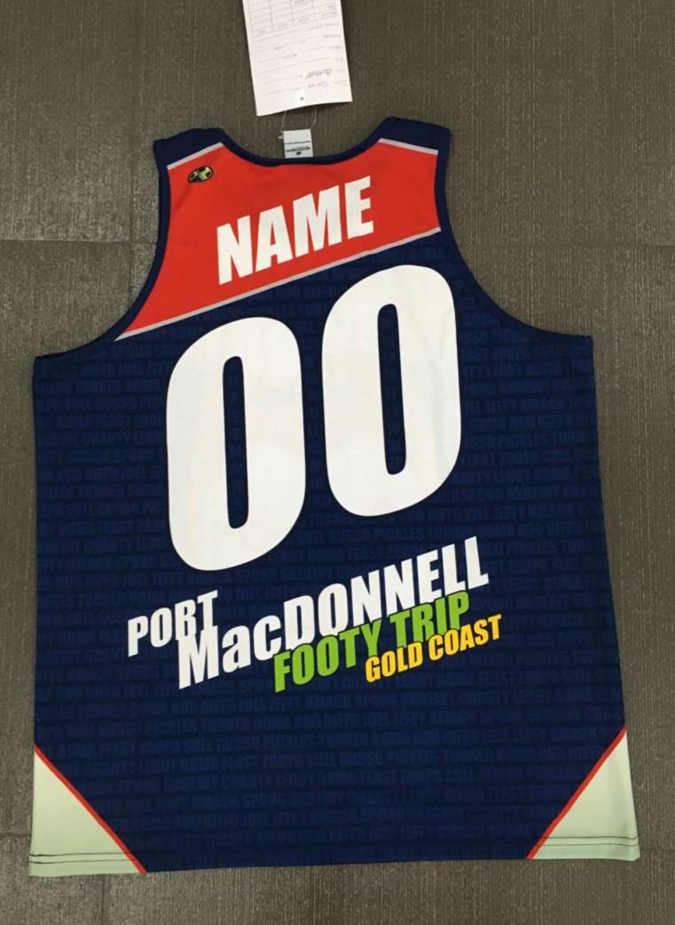 Port MacDonnell Footy Trip Singlets Rear