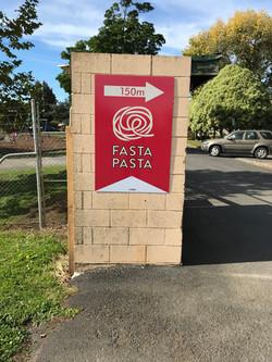Fasta Pasta Football Sponsor Sign