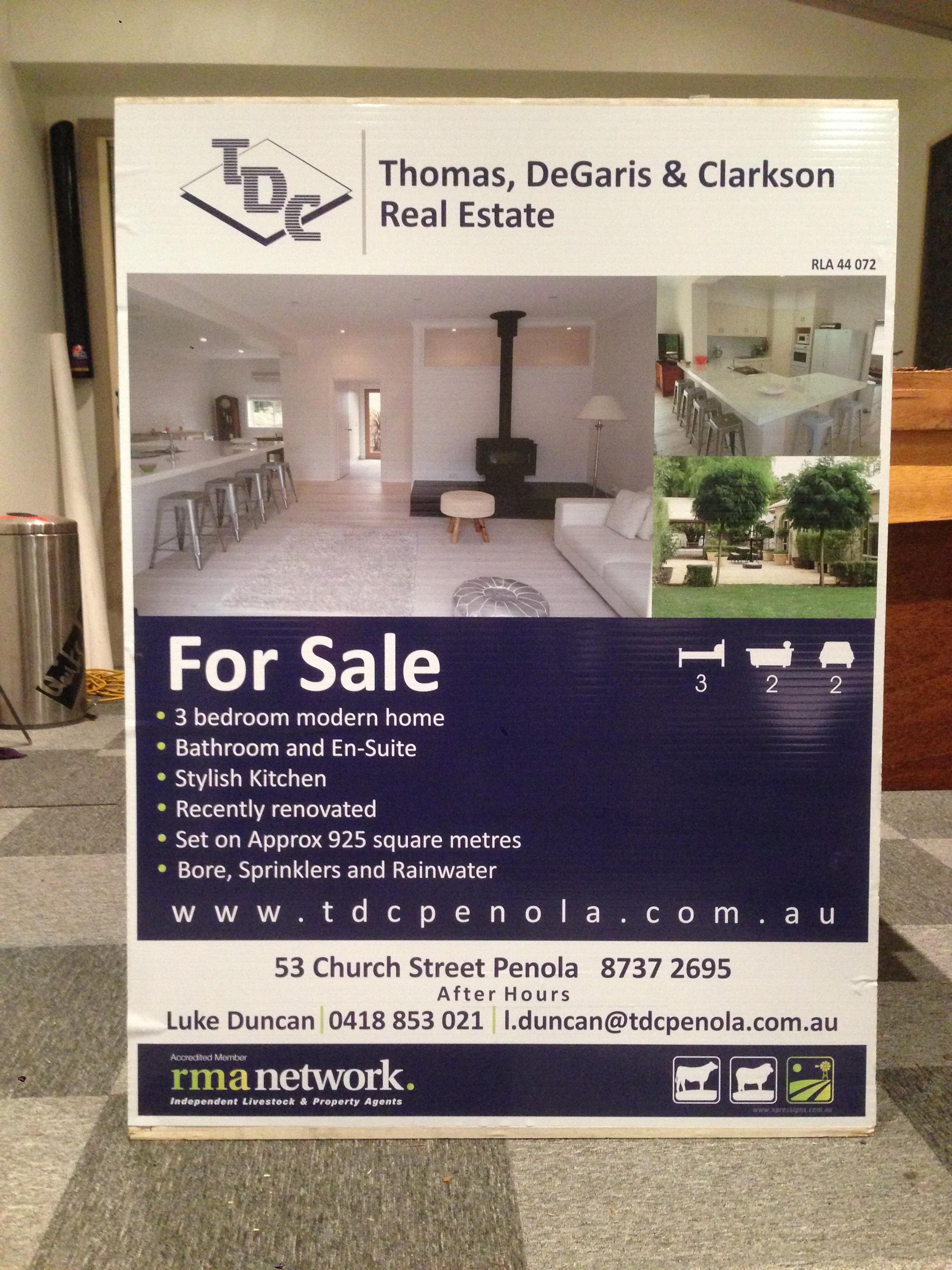 TDC Real Estate Corflute Signage