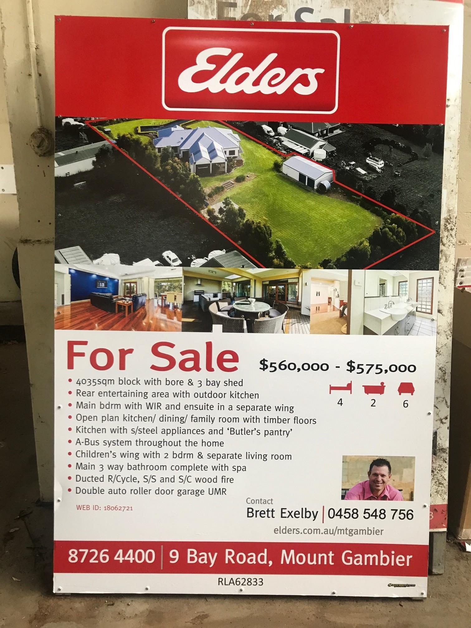 Elders Real Estate For Sale Sign