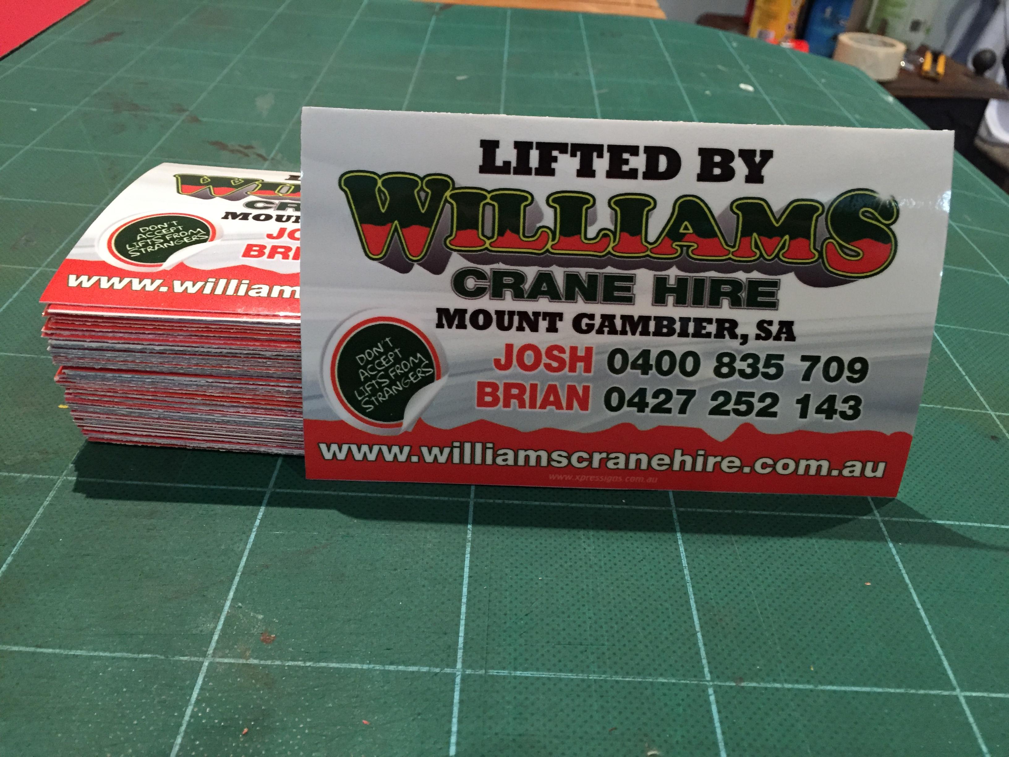 Williams Crane Hire Decals