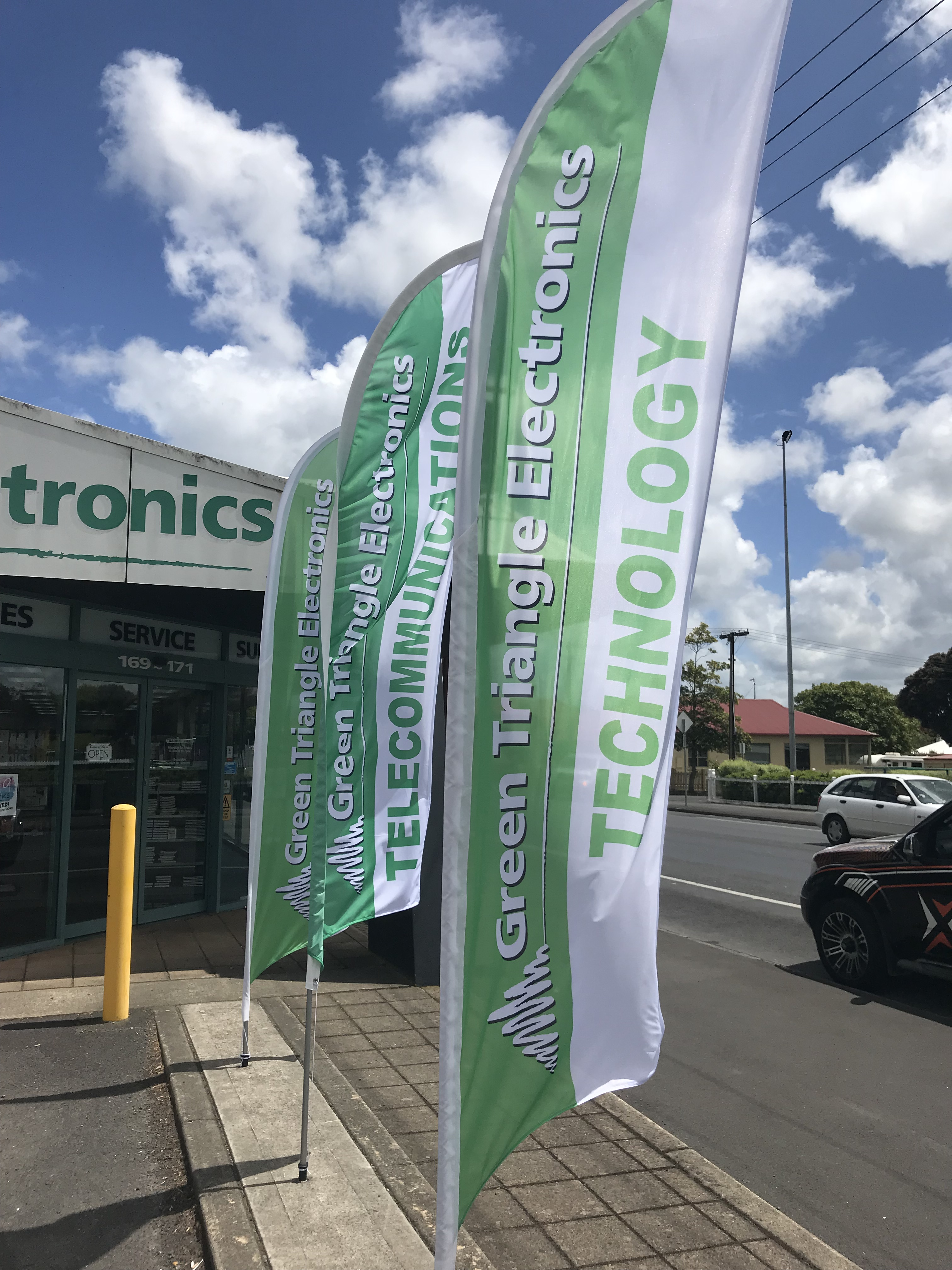 Green Triangle Electronics Feather Flags