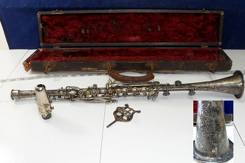 1920s Cavalier Silver Plated Metal Clarinet - Elkhart USA
