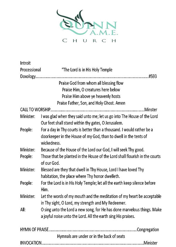 church order of service
