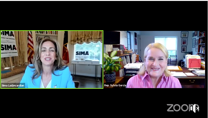 Sima Ladjevardian Hosts Virtual Town Hall with Rep. Sylvia Garcia
