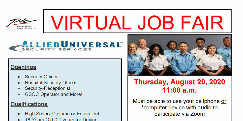 Virtual Hiring Event with Allied Universal Security Services