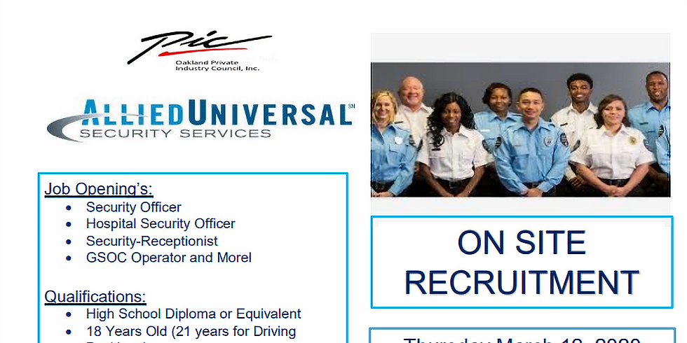 Allied Universal Security Services Hiring Event!