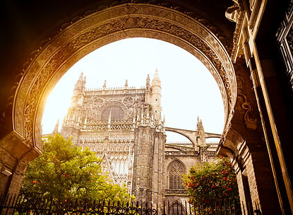 Seville cathedral via arch iStock-170640
