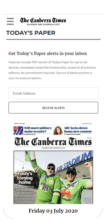 Canberra times email alerts