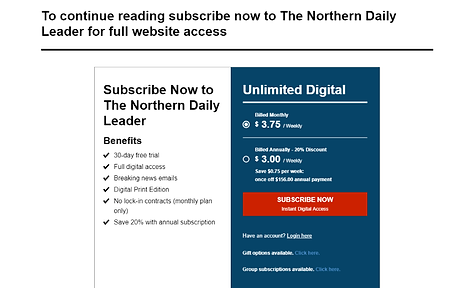 Digital news subscriptions pawall design