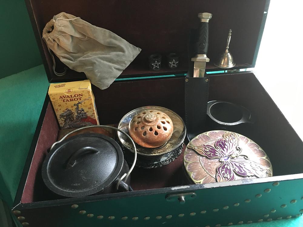pagan Altar tools storage box, Atham, Tarot, cauldron, runes, bell