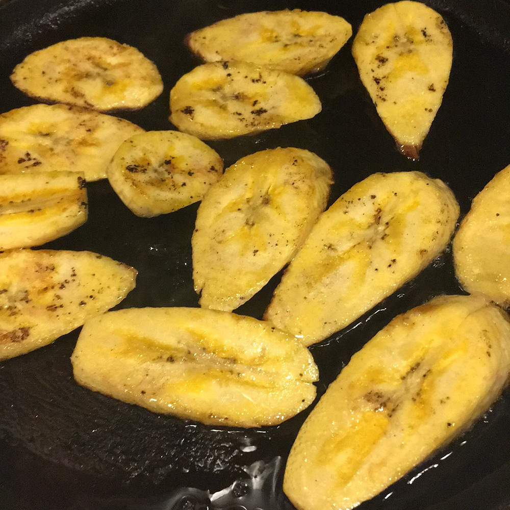 Frying Plantains paleo cast iron