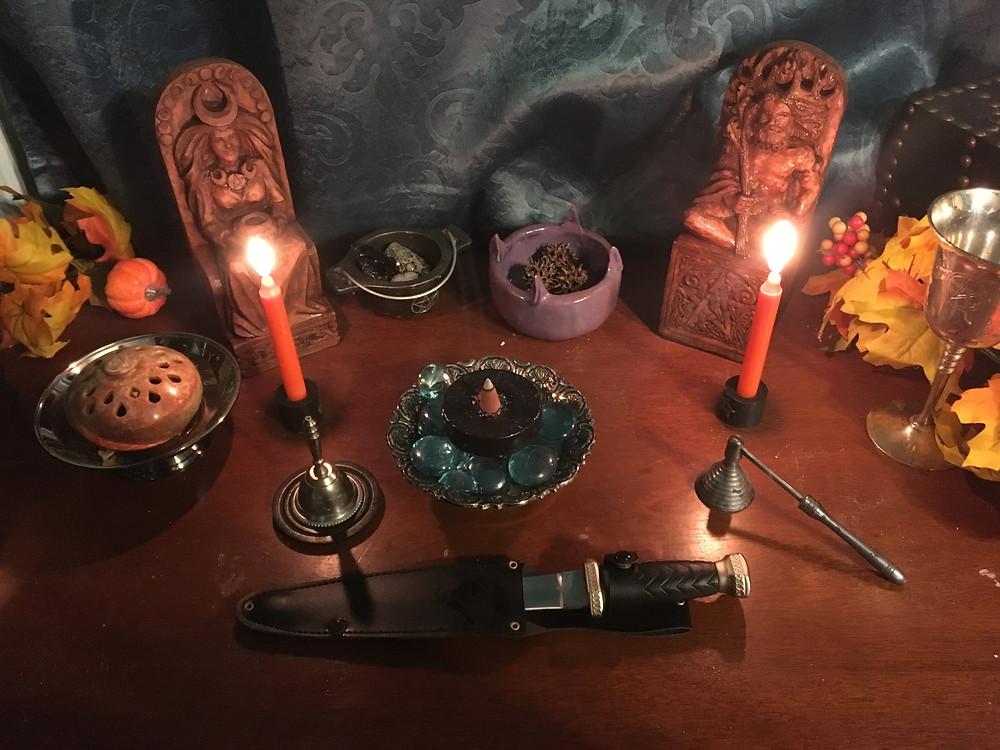 Samhain pagan altar