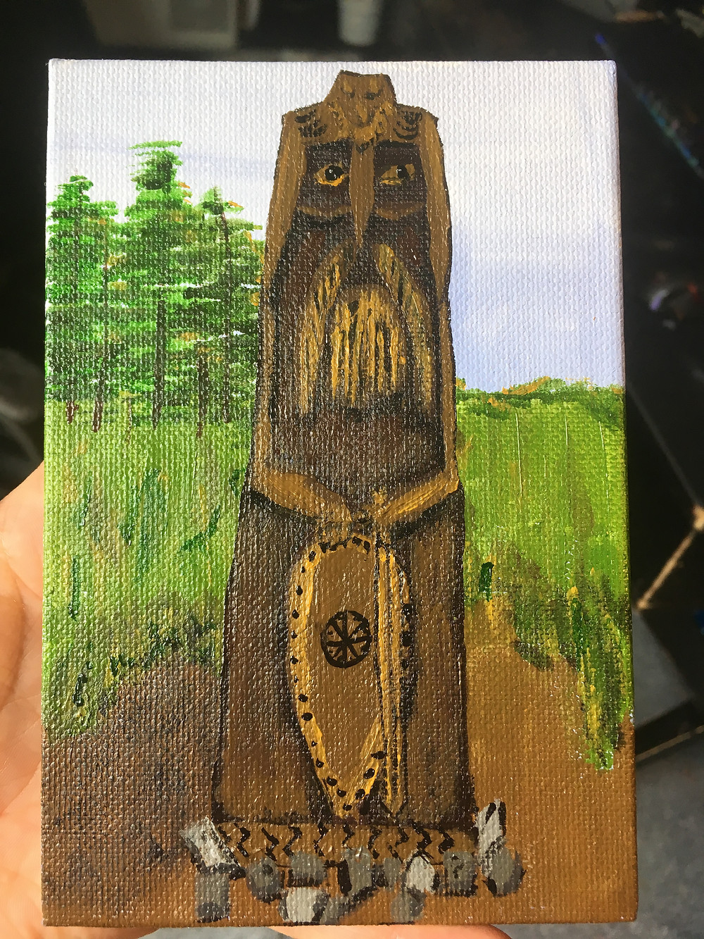 4x6 acrylic painting of Perun statue pagan altar decoration slavic god