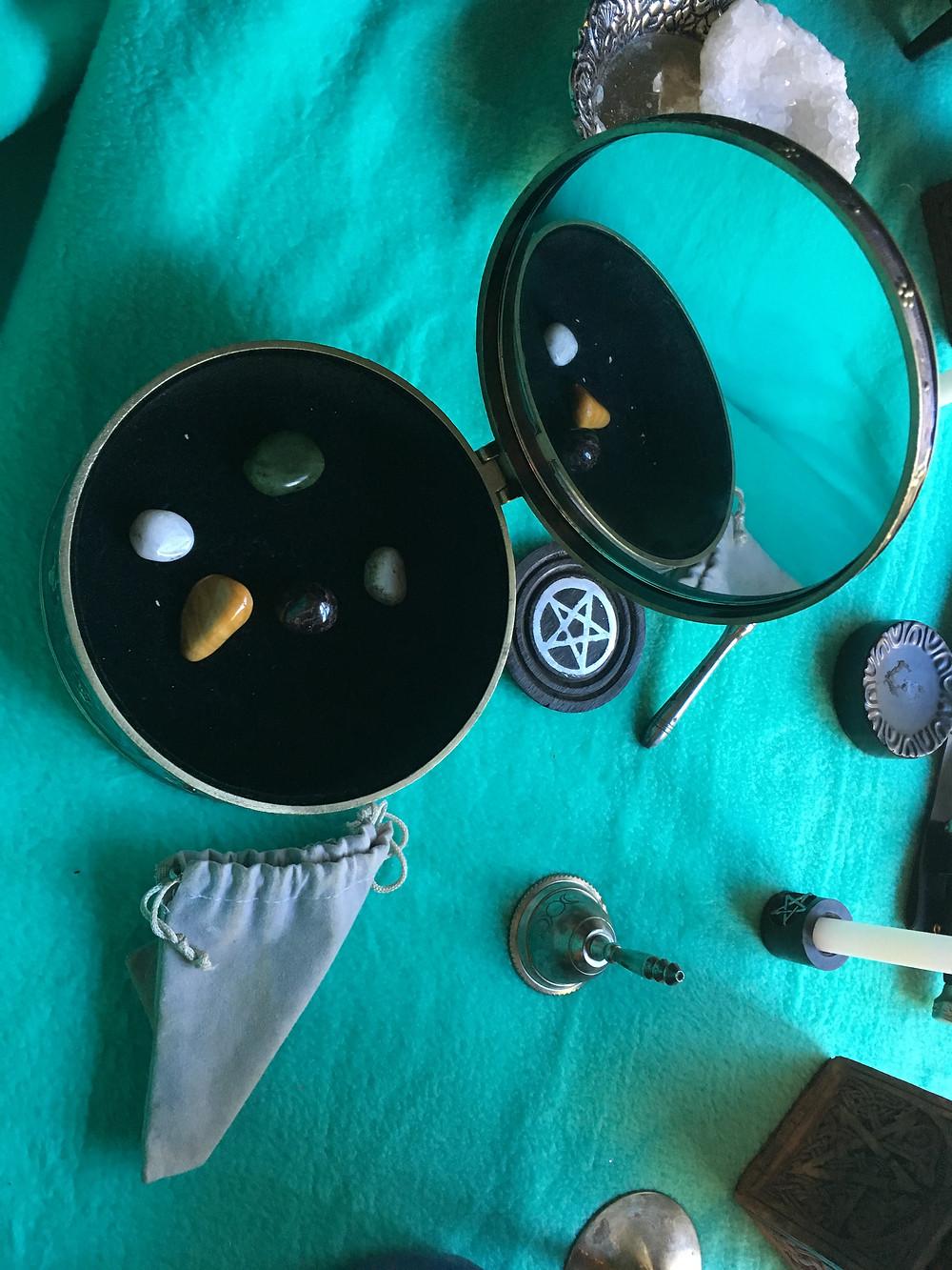 crystals on pagan altar