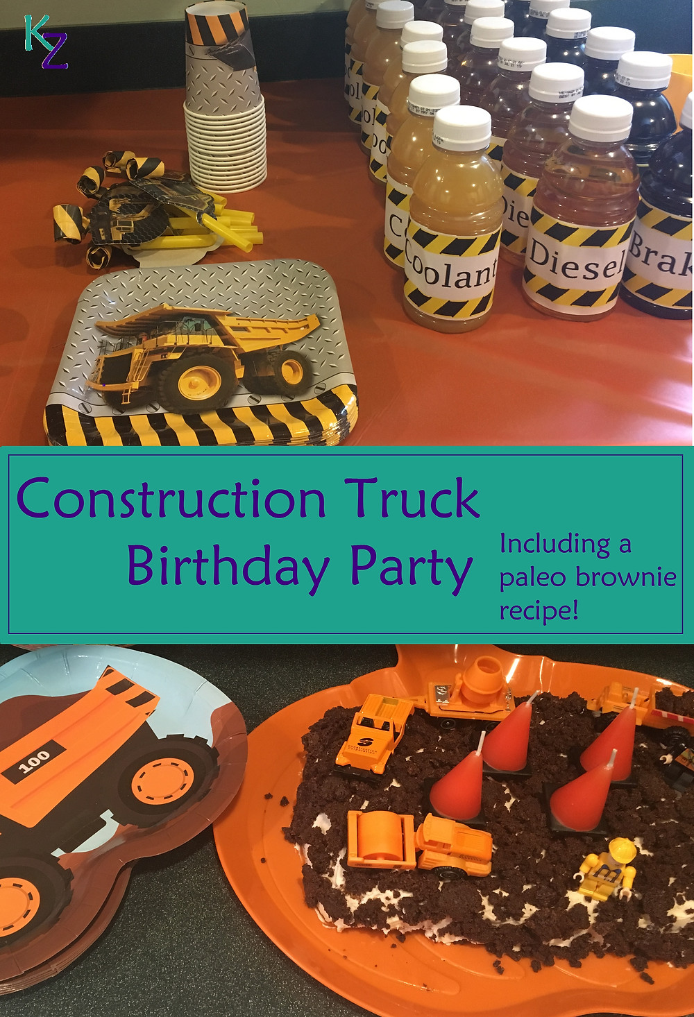Paleo construction truck themed birthday party.