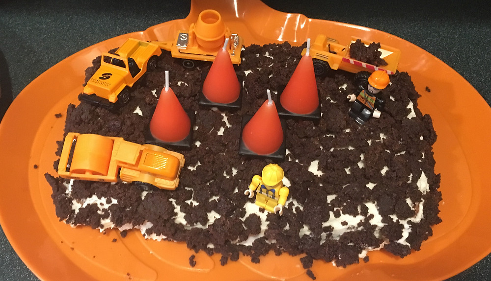 Paleo birthday cake, paleo frosting, paleo brownies, construction toy toppers.