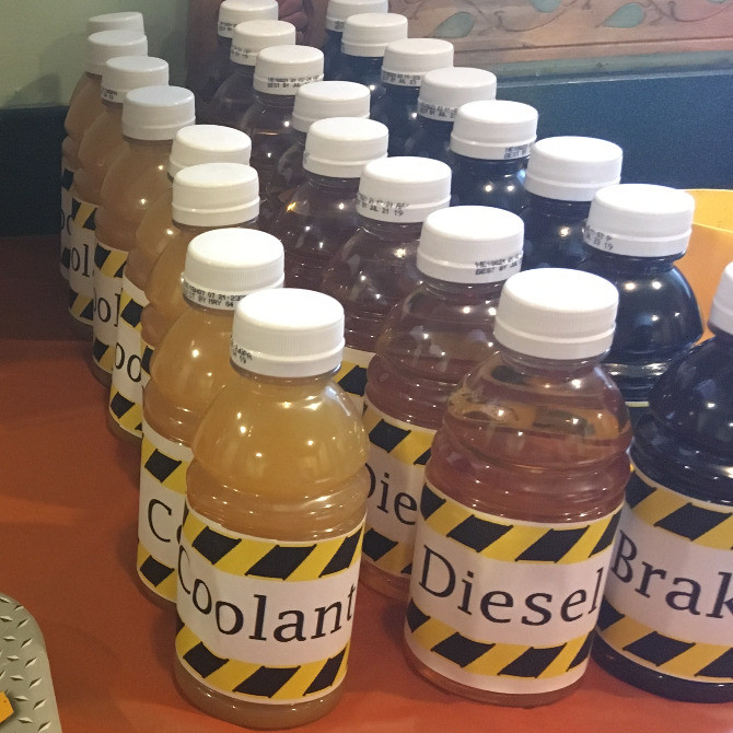 juices with cute vehicle themed labels.