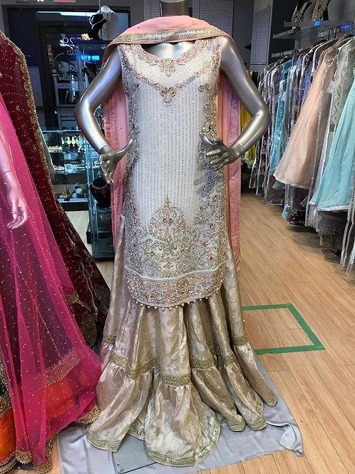 Ivory Gold with Traditional Furshee Gharara