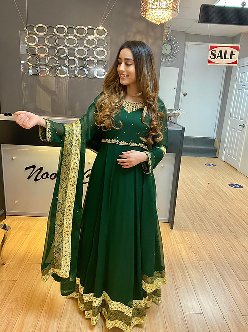 Emerald Green Hand Embroidery Maxi