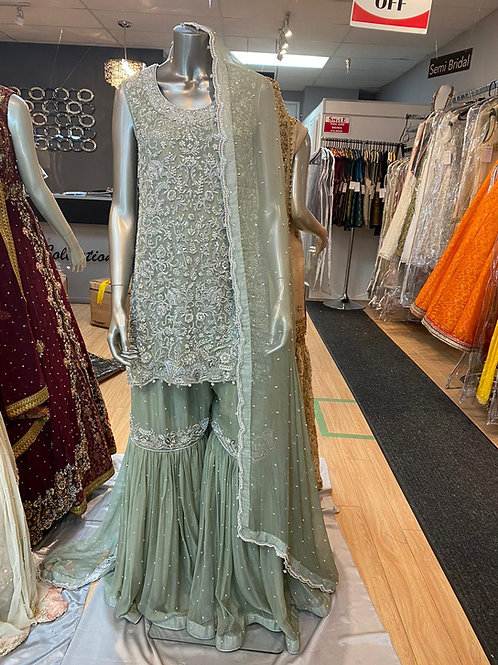 Mint Green Heavy Formal Gharara Outfit