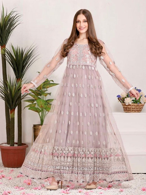 Lilac Net Embroidery Long Shirt with Pants