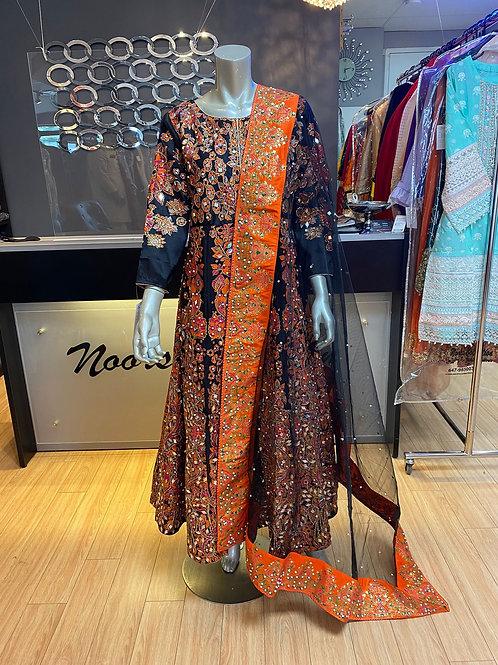 Dark Purple and Orange Mirror Work Maxi