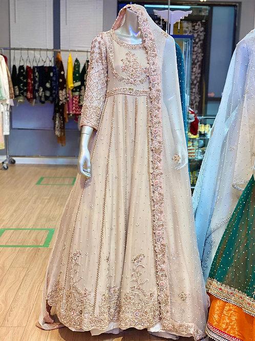 Ivory and Pink Semi Bridal Maxi