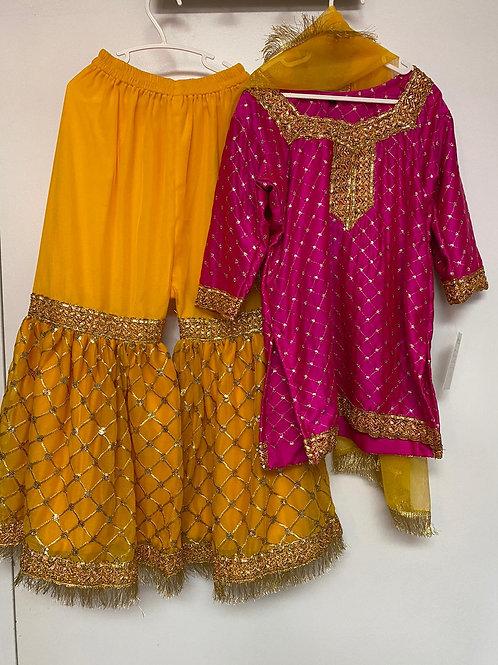 Pink shirt and Yellow Gharara